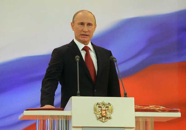 Vladimir Putin speaks during the inauguration ceremony at the Kremlin in Moscow, Russia, May 7, 2012. Putin was sworn in on Monday as Russian president, starting his third term in the Kremlin following the two consecutive terms from 2000 to 2008. [RIA Novosti/Xinhua]