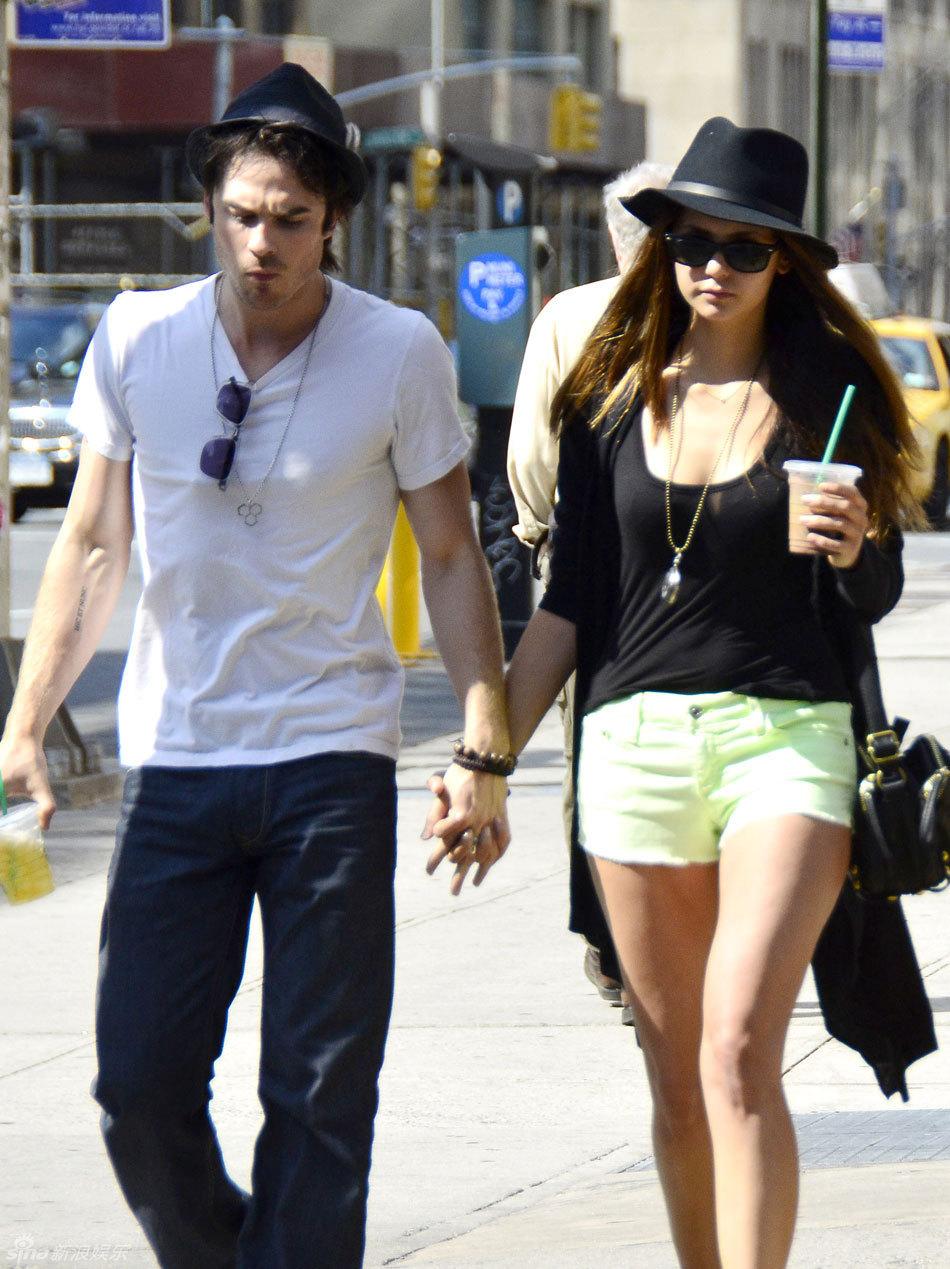 Nina Dobrev appears in NY with her boyfriend Ian ...