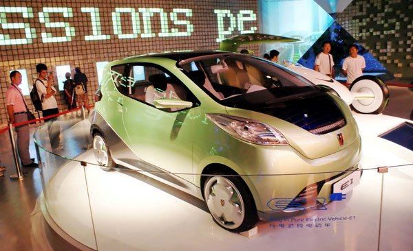 A pure-electric car, developed by Shanghai Automotive Industry Corp Motor and displayed at the World Expo 2010 in Shanghai, is expected to be launched in October 2012.