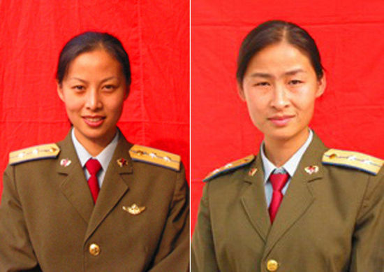 Two female astronauts, Liu Yang(R) and Wang Yaping (L), will join Shenzhou-9 manned spacecraft docking mission with Tiangong-1 spacecraft in mid-June. They are selected as members of the first batch of female astronauts in China because of their excellent flight skills and psychological quality. [file photo]