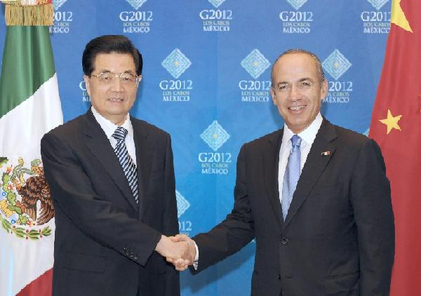 Chinese President Hu Jintao (L) meets with Mexican president Felipe Calderon to exchange views on China-Mexico ties and international issues of common concern in Los Cabos, Mexico, June 17, 2012. [Ma Zhancheng/Xinhua]