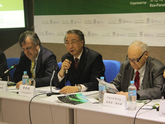 Left to right: UNESCO Under Secretary Hans d'Orville, Secretary General of Eco Forum Global Zhang Xinsheng and former Executive Director of the UN Environment Programme Maurice Strong attend a forum on the sidelines of the Rio+20 UN Conference on Sustainable Development in Rio de Janeiro on June 22. [By Zhou Jianxiong]
