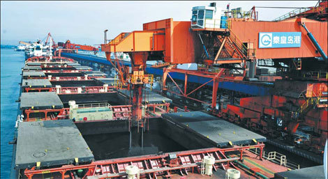 A shipment of coal at Qinhuangdao, a major port in Hebei province.