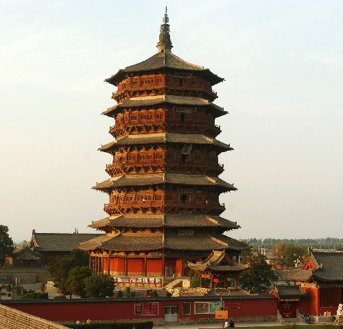 The Sakyamuni Pagoda of Fogong Temple is located in the Xian County, Shanxi Province.