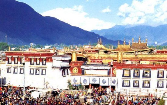 Jokhang Temple is located on Barkhor Square in Lhasa, Tibet Autonomous Region.