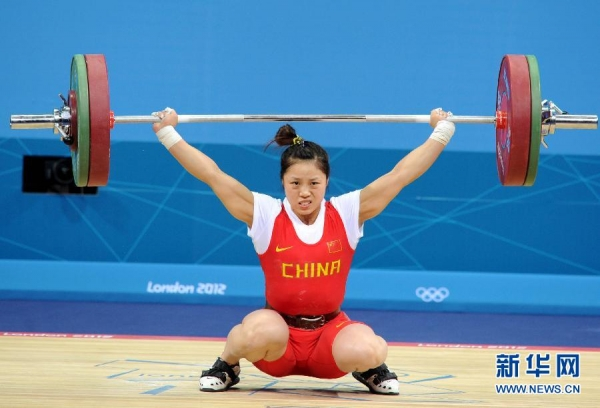 Zhou Jun competes on the women's 53Kg Group B weightlifting competition at the London 2012 Olympic Games July 29, 2012.