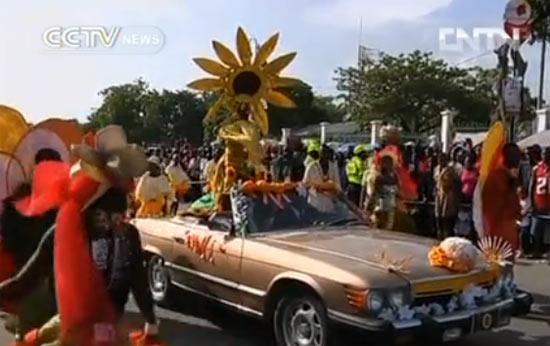 The three-day 'Carnival of Flowers' is celebrated in the countryside of Haiti.