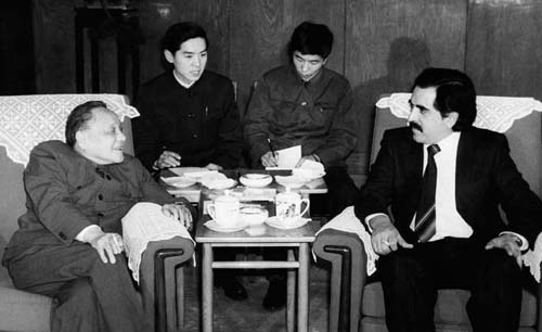 Former Chairman of the Central Advisory Commission of the Communist Party Deng Xiaoping meeting with the visiting General Secretary of the Unity Socialist Party of Mexico Pablo Gomes on January 11th, 1983. [File Photo]