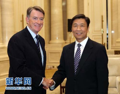 Li Yuanchao (right), head of the Organization Department of the CPC Central Committee meeting with Peter Mandelson, delegate of the British Delegation for the Fourth China-UK Leadership of the Future Forum in Beijing, September, 2010.