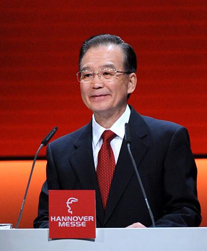 4月22日,中国国务院总理温家宝出席德国汉诺威工业博览会开幕式并发表演讲。