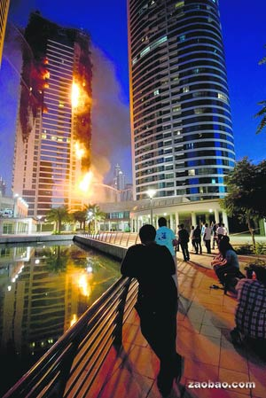 Fire partly destroys Dubai skyscraper - China.org.cn