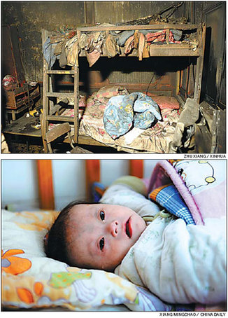 Top: The scene at Yuan Lihai's orphanage after the fire. Above: An infant with Down's Syndrome is one of 10 children who have now settled down at Kaifeng Welfare Home. Xiang Mingchao / China Daily