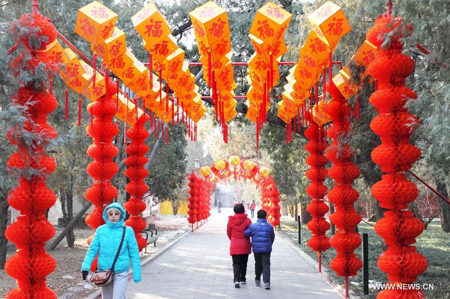 The Temple of Earth Park was decorated with red lanterns so as to celebrate the upcoming Spring Festival or Chinese Lunar New Year.