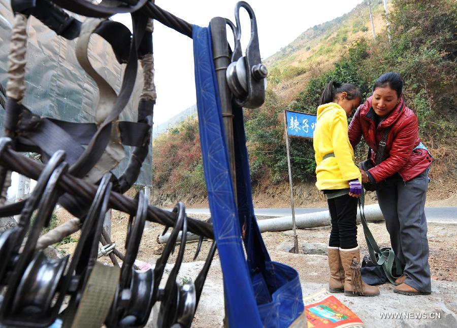 Zip Lines Traditional Transportation Method Along Nujiang