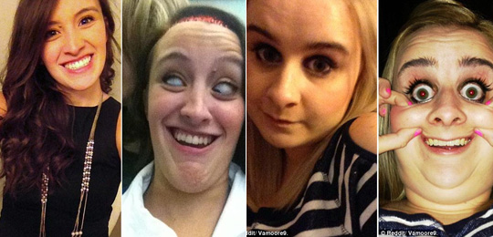 美女自拍恶搞惊悚丑照席卷网络 pretty girls making ugly faces