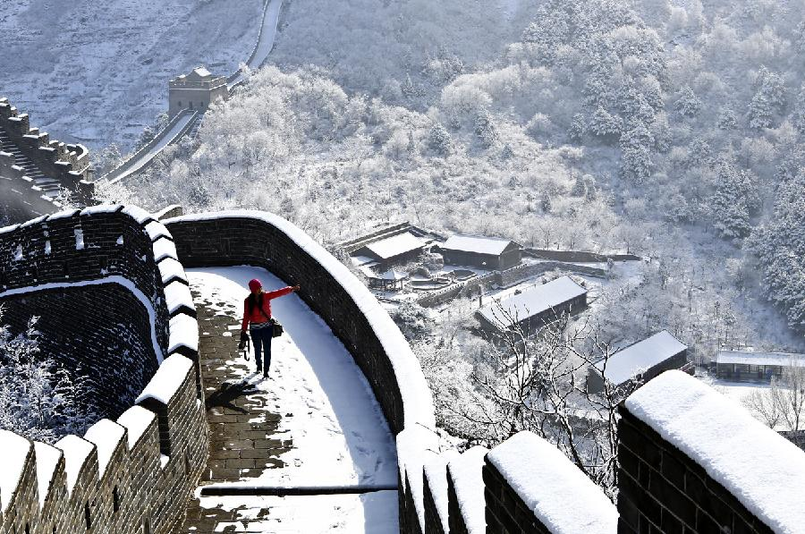 Snow covered great wall in tianjin china