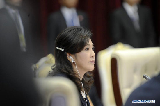 Thai Prime Minister Yingluck Shinawatra attends the 20th ASEAN summit in Phnom Penh, capital of Combodia, April 4, 2012. [Xinhua]