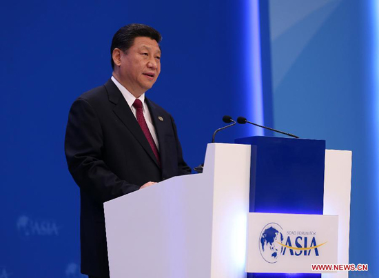 Chinese President Xi Jinping delivers a keynote speech at the opening ceremony of the Boao Forum for Asia (BFA) Annual Conference 2013 in Boao, south China's Hainan Province, April 7, 2013. [Xinhua]