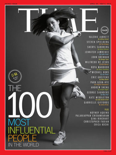 Li Na on Time cover, makes influential 100 list