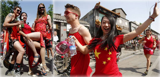 Red Dress Run in Beijing for fun