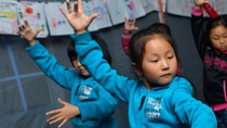 Kids take dance class in tents in Lushan