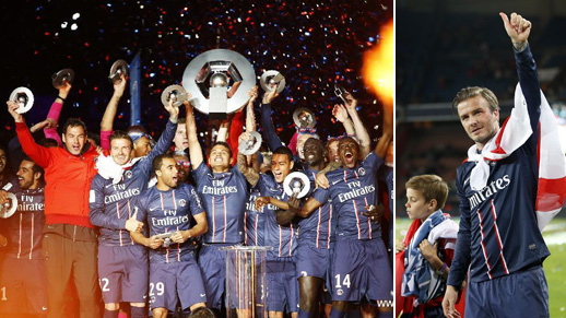 David Beckham celebrates after PSG wins French League title