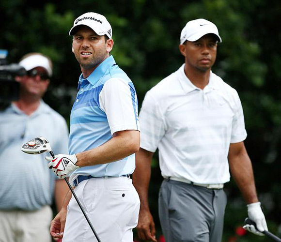 Tiger Woods (R) and Sergio Garcia have been at each other's throats for almost 10 years.