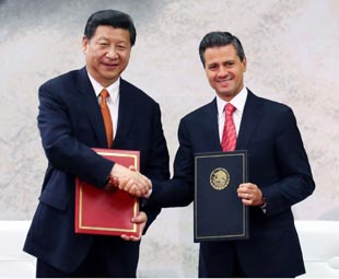 Xi urges greater economic co-op with Mexico