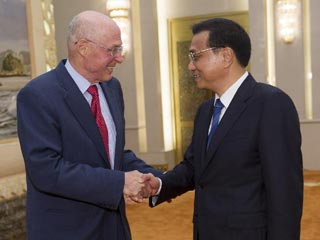 Chinese premier meets former US treasury secretary