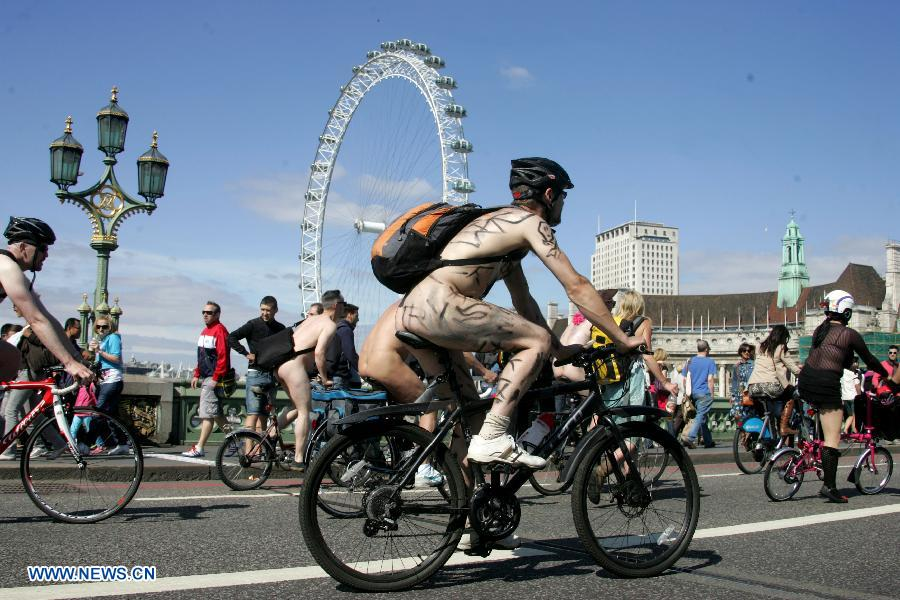 World Naked Bike Ride in central London, Britain, on June 8, 2013
