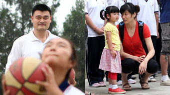 Yao Ming family visit school for charity- China.org.cn Yao Ming And Family