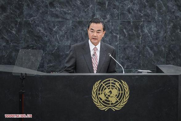9月27日,中国外交部长王毅在纽约联合国总部举行的第68届联合国大会一般性辩论中发言。[新华社]