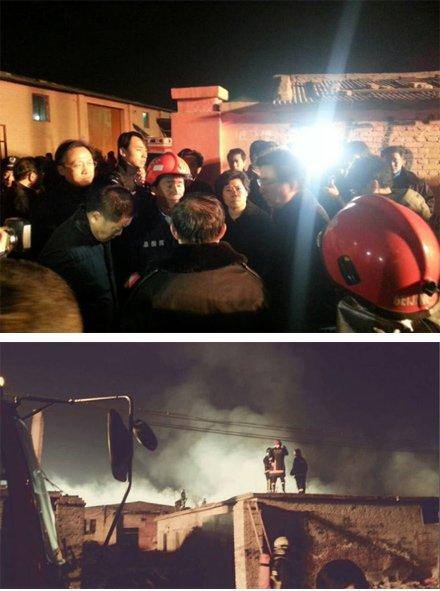 The fire in a storehouse in Xiaowuji of Chaoyang District, Beijing, killed at least 12 people on Tuesday night. [Xinhua]