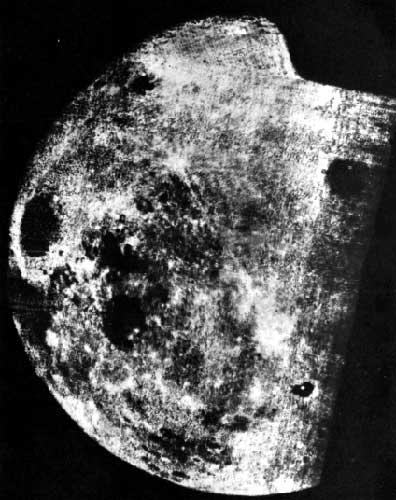 The image is the first image of the far side of the Moon, taken by the Luna 3 spacecraft in October, 1959.[File photo]