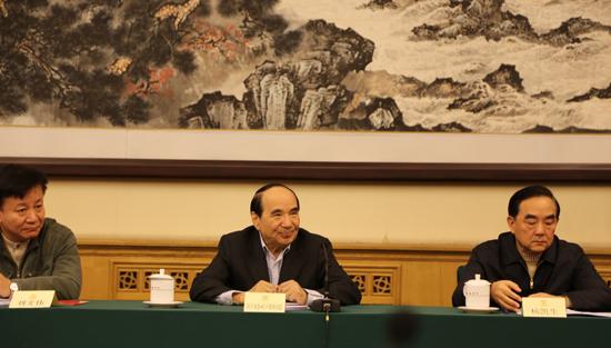 全国政协原副主席阿不来提·阿不都热西提(中)出席了推进会。[中国网 张露露 摄]