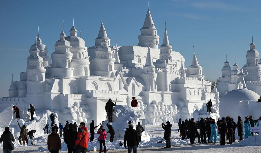 ... numbers of snow sculptures, opened to tourists on Thursday. (Xinhua