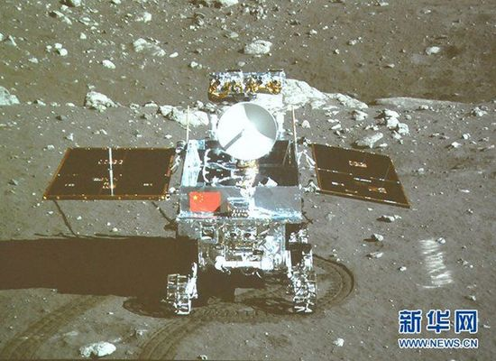 China's moon rover 'Yutu' (Jade Rabbit) and the Chang'e-3 lander 'wake up' last Sunday after a period of dormancy that lasted two weeks, or one lunar night, in a move designed to ride out harsh climactic conditions. [photo / Xinhua]