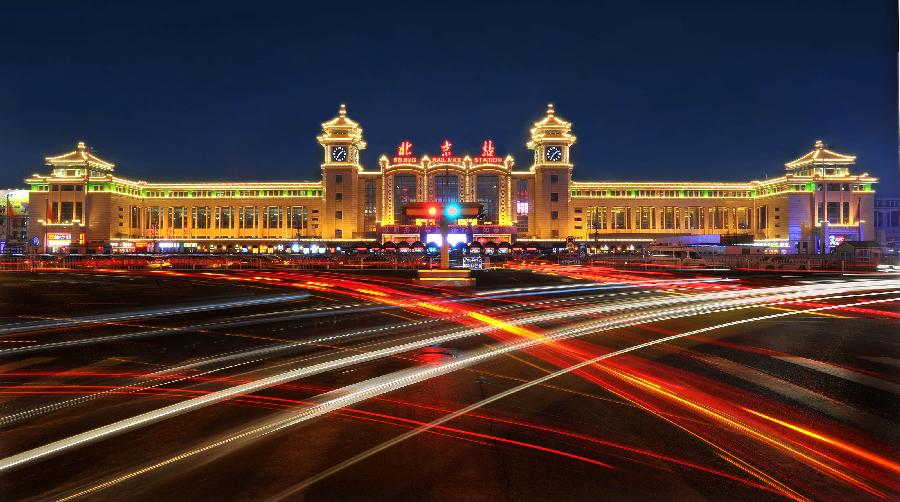 Sihui China  City new picture : Night view of railway stations in Beijing China.org.cn