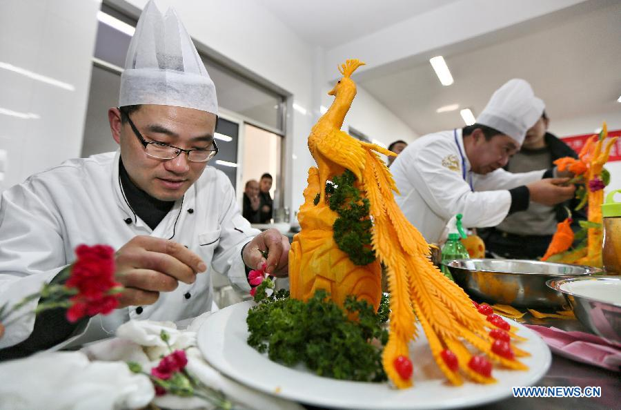 Fruit and vegetable carving contest held in e china china for Academy of oriental cuisine