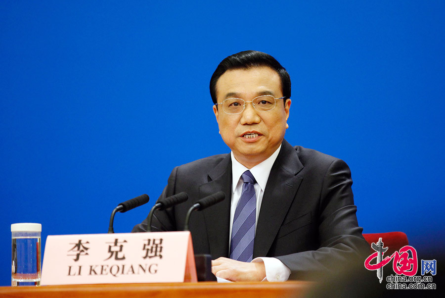 Chinese Premier Li Keqiang speaks at a press conference after the closing meeting of the second annual session of China's 12th National People's Congress (NPC) at the Great Hall of the People in Beijing, capital of China, March 13, 2014.[Photo/China.org.cn]