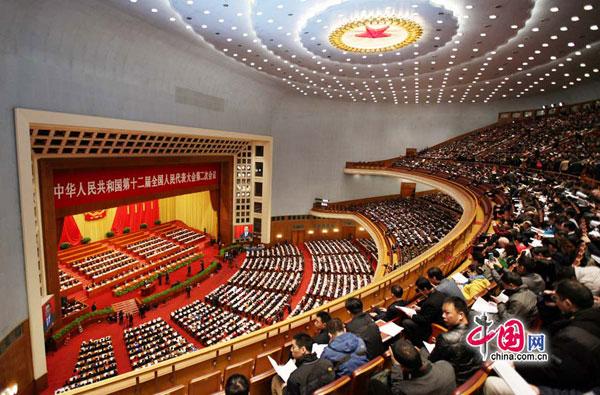 2014年3月5日上午,第十二届全国人民代表大会第二次会议在人民大会堂开幕。[中国网 郑亮 摄]