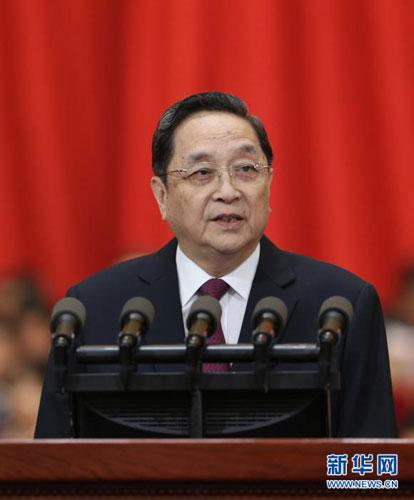 2014年3月3日,中国人民政治协商会议第十二届全国委员会第二次会议在北京人民大会堂开幕。这是俞正声代表政协第十二届全国委员会常务委员会做工作报告。[新华社 庞兴雷 摄]