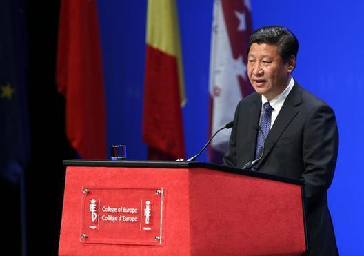 当地时间4月1日,国家主席习近平在比利时布鲁日欧洲学院发表重要演讲。[新华社]