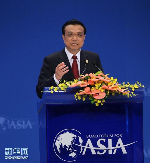 4月10日,博鳌亚洲论坛2014年年会在海南省博鳌开幕,国务院总理李克强出席开幕式并发表题为《共同开创亚洲发展新未来》的主旨演讲。[新华社 丁林 摄]
