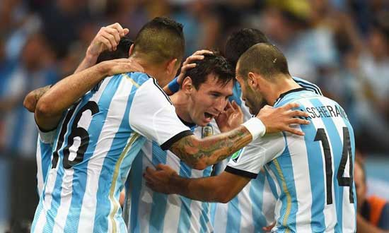 Messi Scoring A Goal In The World Cup