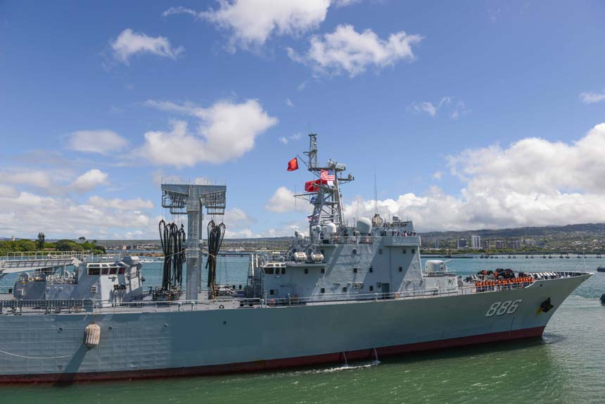 Photo taken on June 24, 2014 shows Chinese navy's supply ship Qiandaohu in Pearl Harbor in Hawaii, the United States. The Chinese fleet participating in the Rim of the Pacific (RIMPAC) multinational naval exercises arrived at Pearl Harbor on Tuesday.[Xinhua]
