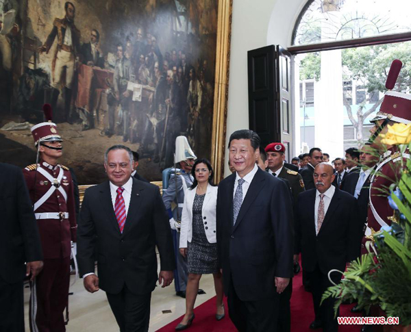 Chinese President Xi Jinping meets with President of the National Assembly of Venezuela Diosdado Cabello in Caracas, capital of Venezuela, July 21, 2014. [Photo/Xinhua]