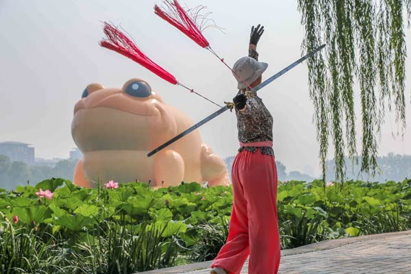A woman practises a Chinese martial art in front of an inflatable golden toad in Beijing's Yuyuantan Park since July 19. The toad's image has stirred debate on the internet between supporters and detractors. [Photo / China Daily]