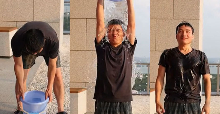 Liu Zuohu, founder of mobile phone maker One Plus, is seen in his Ice Bucket Challenge video. [Photo courtesy of Liu Zuohu]