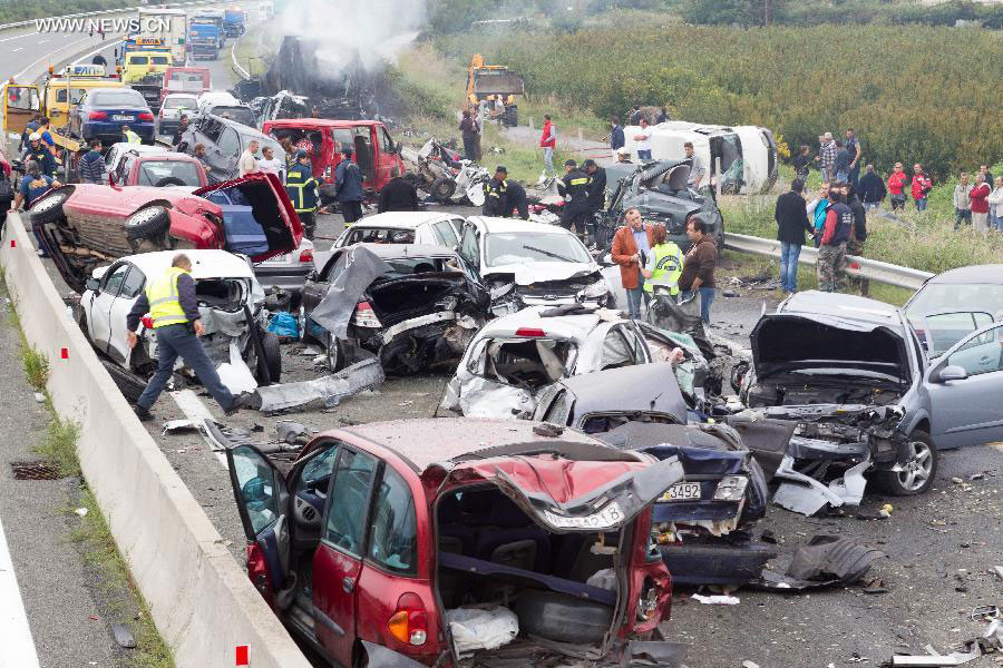 5 dead in 40 car pile-up in Greece- China org cn
